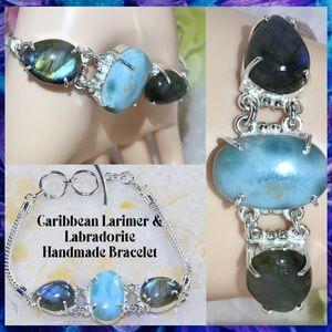 🆒 Caribbean Larimer Labradorite Handmade Bracelet